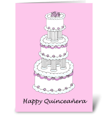 Happy Quinceanera beautiful cake. greeting card