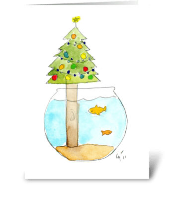 Fish Bowl Christmas greeting card