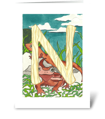 N for Newt greeting card