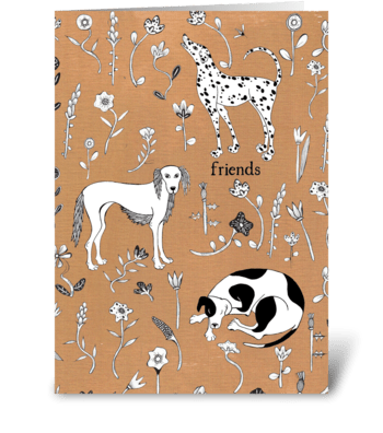 dog friends greeting card
