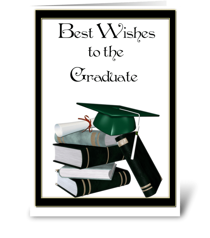 Graduate Books, Cap, Diploma greeting card