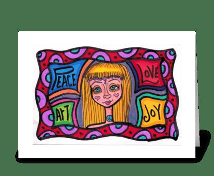 Peace Love Art Joy greeting card