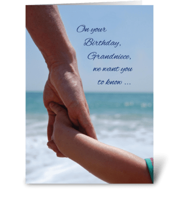 Grandniece Child Birthday Holding Hands  greeting card
