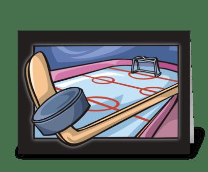 Ice Hockey Rink Birthday greeting card