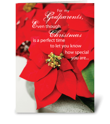 Godparents Christmas Poinsettia greeting card