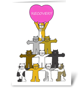 Recovery, cartoon cats. greeting card