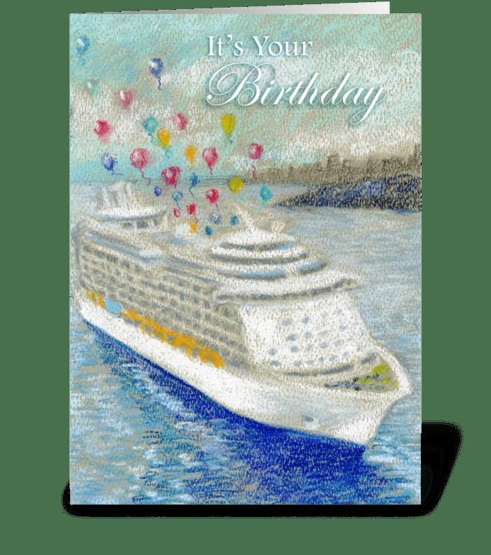 Cruise Ship & Ballons Birthday greeting card
