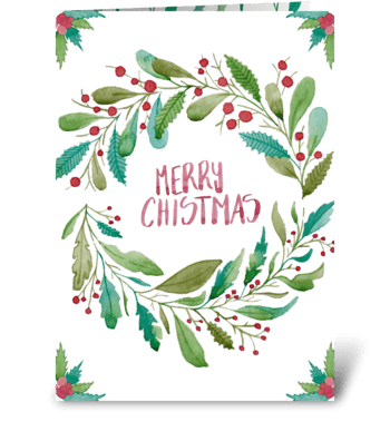 Watercolor Merry Christmas Card greeting card