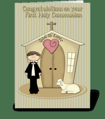 First Communion, Boy, Church, Lamb greeting card