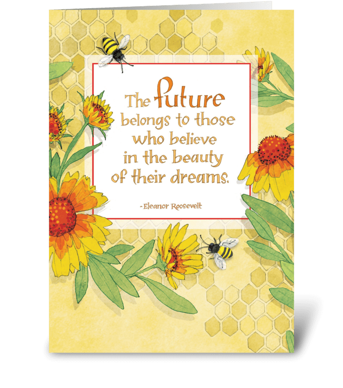 Daisy Bees greeting card