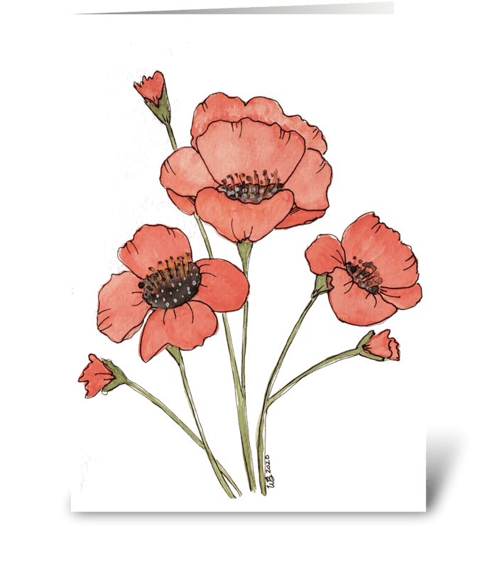 Watercolor Poppies Any Occasion greeting card
