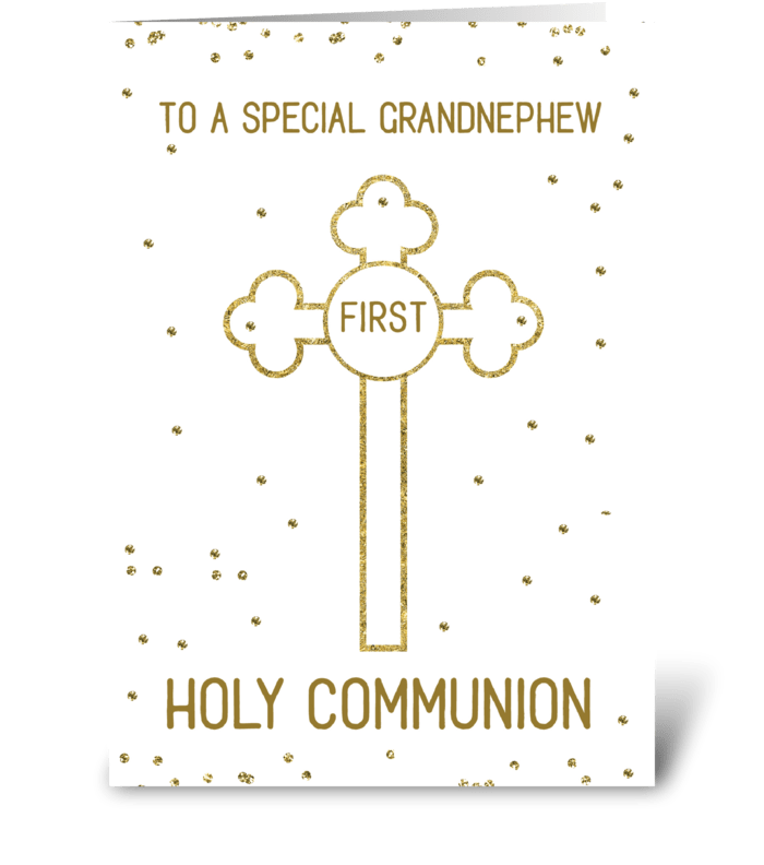 Grandnephew First Holy Communion Gold greeting card