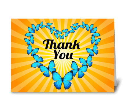 Thank You Butterfly Heart with Sunlight greeting card