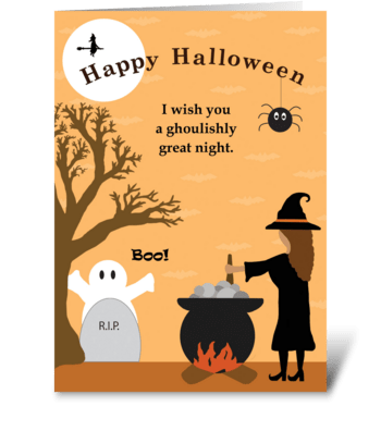 Spooky Halloween Night greeting card