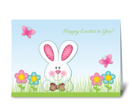 Easter Bunny, Flowers greeting card