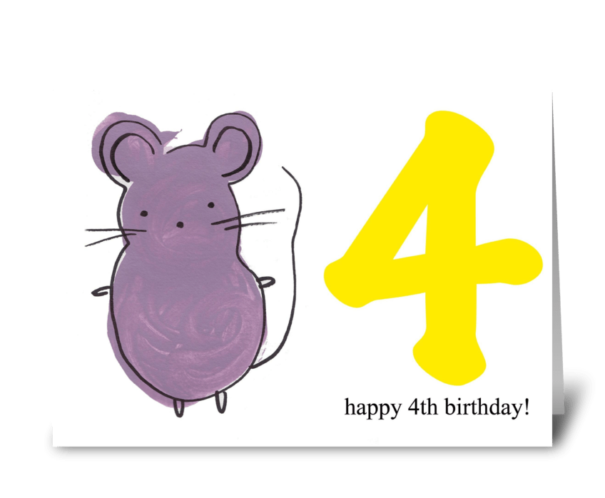 Mouse Happy Fourth Birthday greeting card