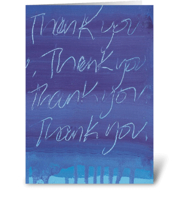 Thank You Painting - Purple on Blue greeting card