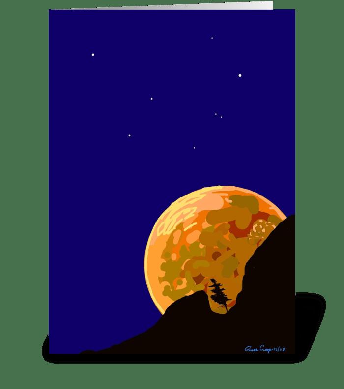 Moon Over Bear Mountaiin greeting card