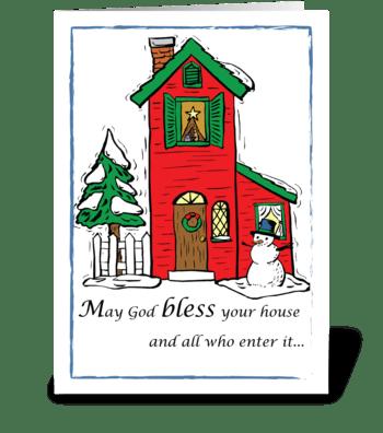 God Bless House Christmas greeting card