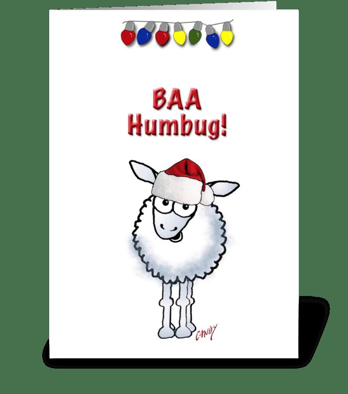 Cartoon Christmas Sheep greeting card