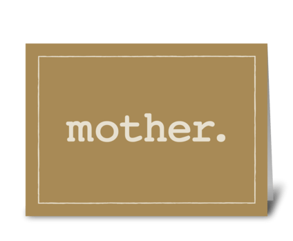 Mother Defined Simple Love Mother's Day greeting card