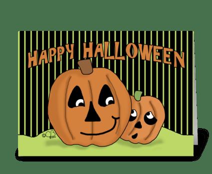 Scaredy Jack-o-lantern-Happy Halloween greeting card