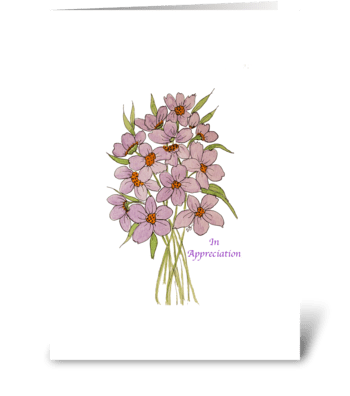 In Appreciation Wild Flower Watercolor greeting card
