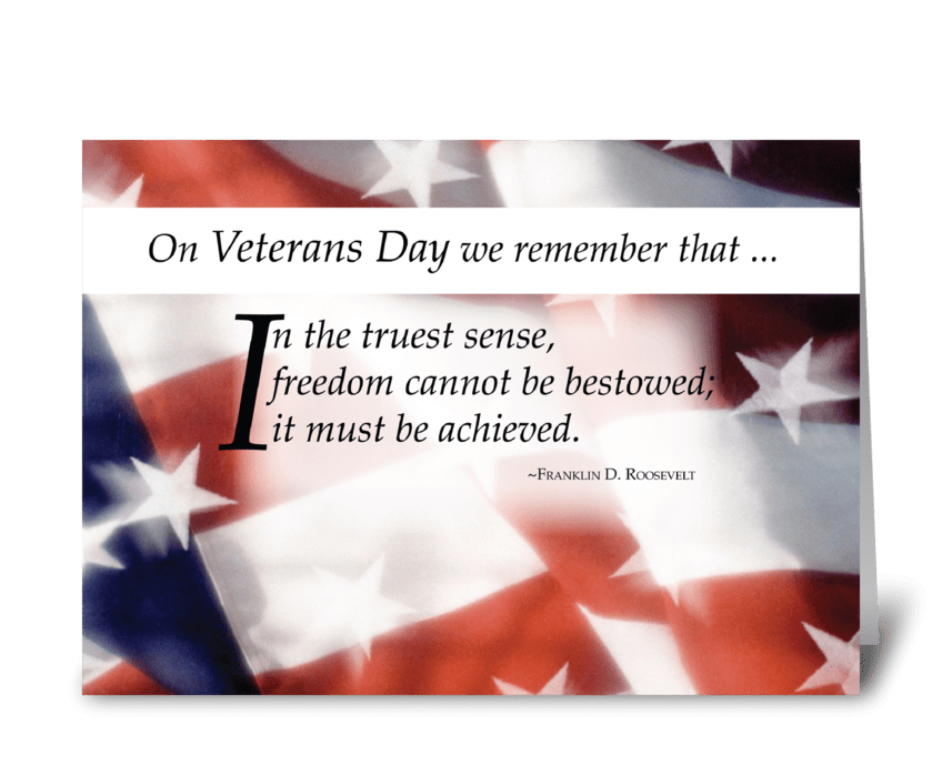 Freedom Flag on Veterans Day greeting card