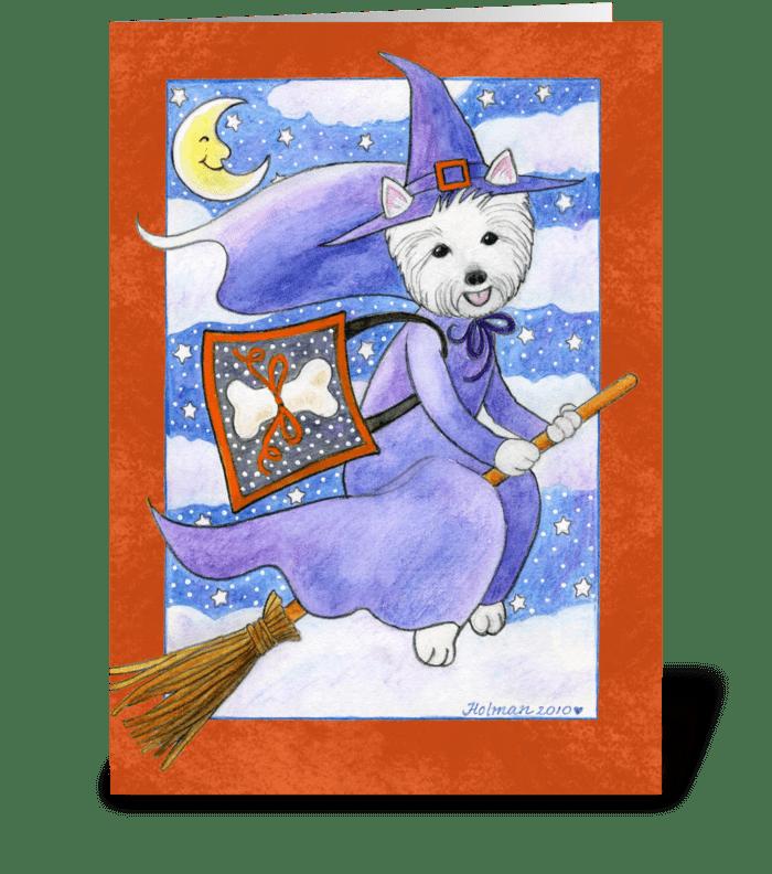 Halloween Westie Dog Witch greeting card