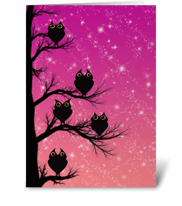 Twilight Owls  greeting card