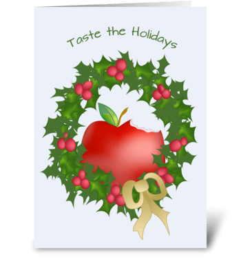 Apple and Wreath - Happy Holidays greeting card