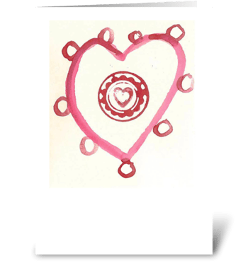 Watercolor - Heart with Circles greeting card