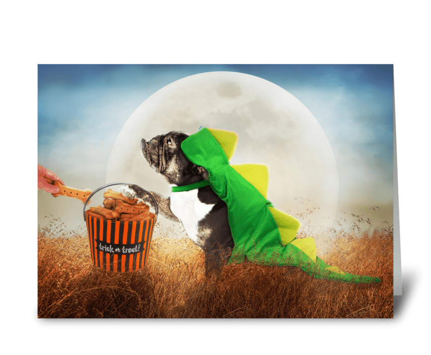 Dog Dinosaur on Halloween Night greeting card
