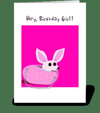 Chihuahua Purse Birthday Card greeting card