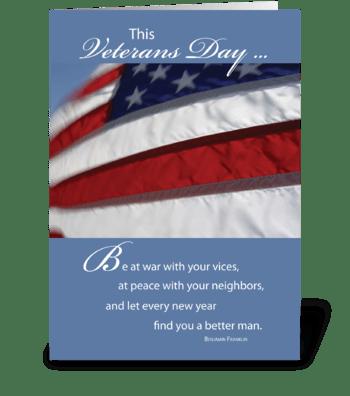 Veterans Day Patriotic Flag greeting card