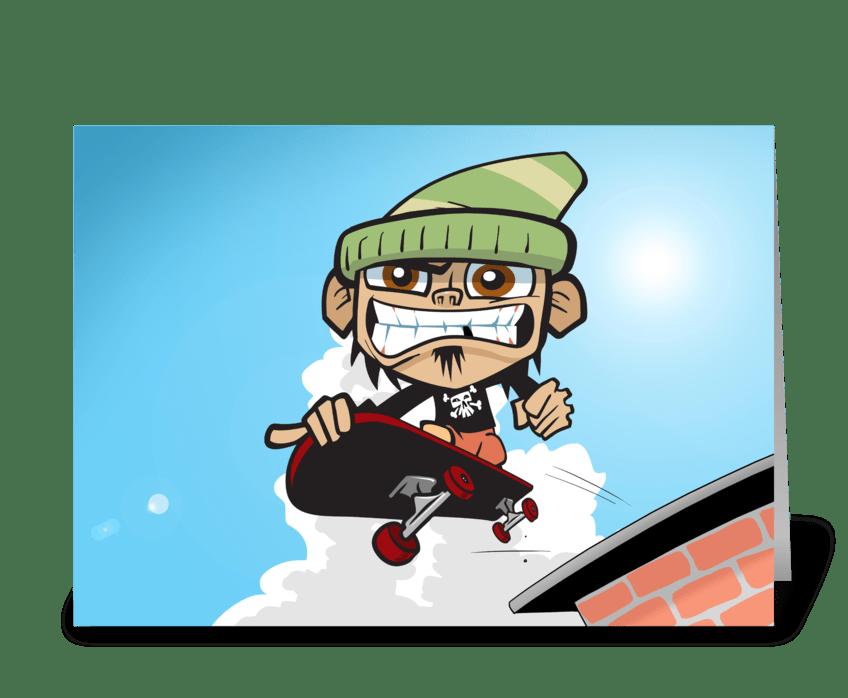 Skateboarding Zim greeting card