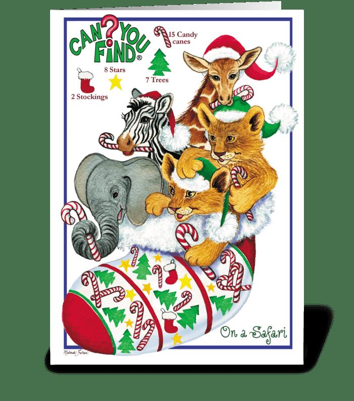 Safari Animal Christmas Card greeting card