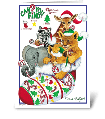 Safari Animal Christmas Card greeting card