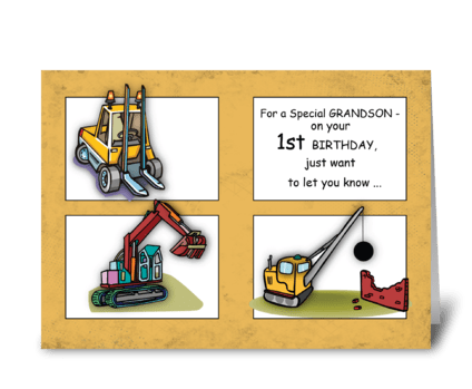 Grandson 1st Birthday Trucks greeting card