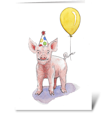 Pig Party Animal greeting card