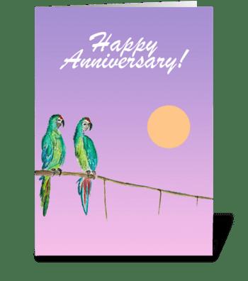 Happy Anniversary Love Birds greeting card