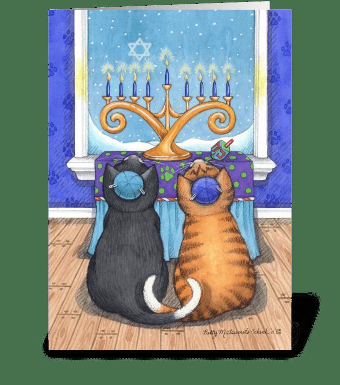 Happy Hanukkah Cats Wearing Yarmulke  greeting card