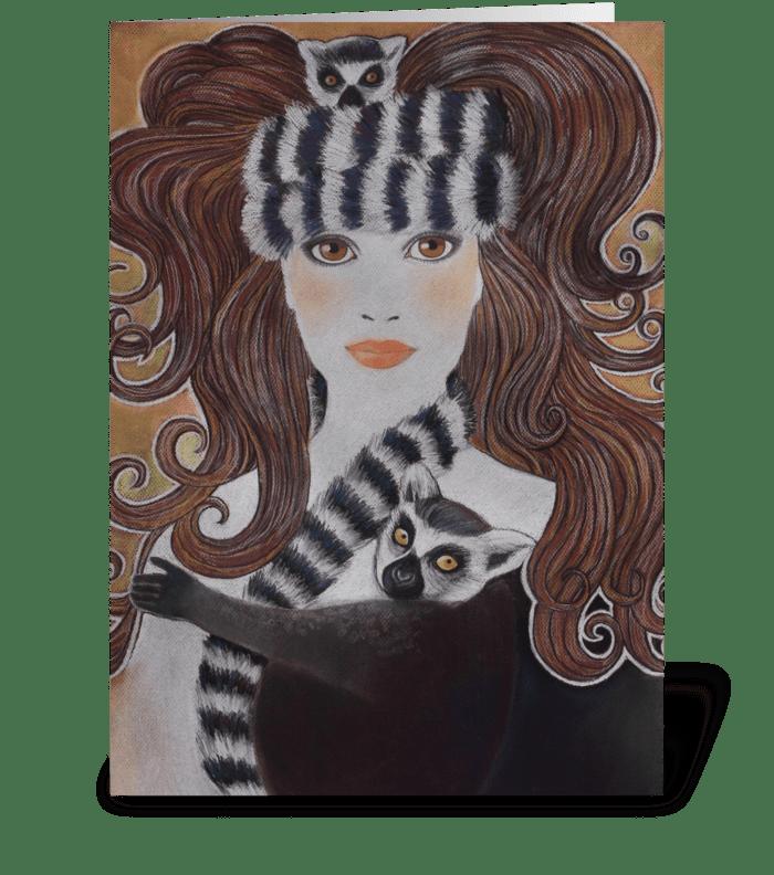 Snow Princess Wearing Lemurs greeting card