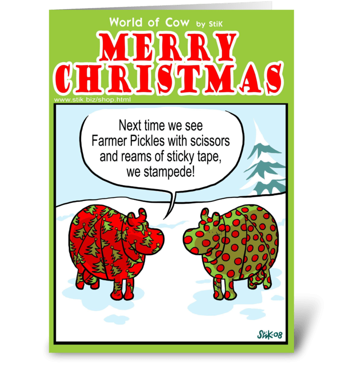 Farmer Pickle's Christmas Wrapping greeting card