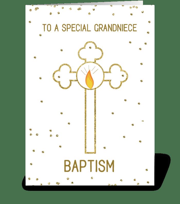 Grandniece Baptism Gold Cross greeting card