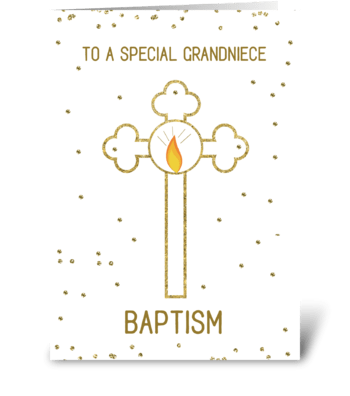 Grandniece Baptism Gold Cross greeting card