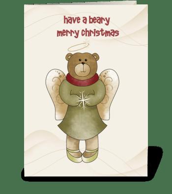 Angel Bear Christmas greeting card