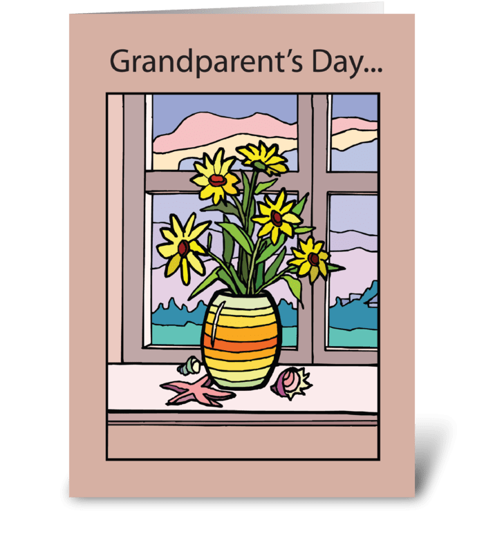 Grandparents Day Vase in Window greeting card