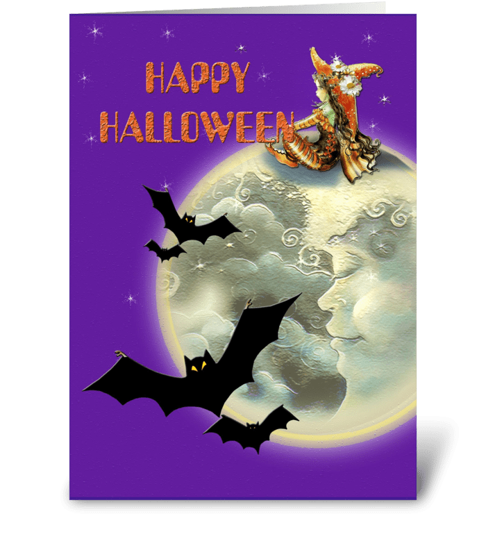 Witch & Bats & MOON greeting card