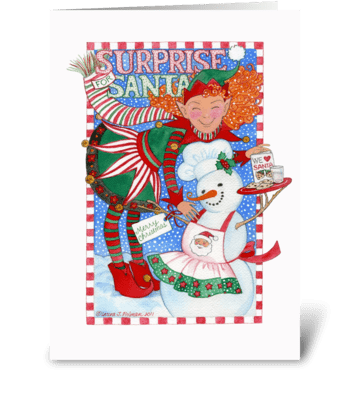 Elf & Snowman Surprise for Santa greeting card